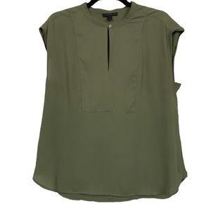 J. Crew Drapey Cap Sleeve Top in Olive Green